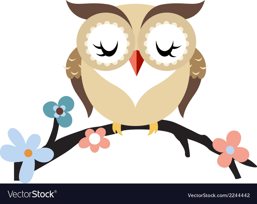 Cartoon owl on a flowering tree branch vector | Price: 1 Credit (USD $1)