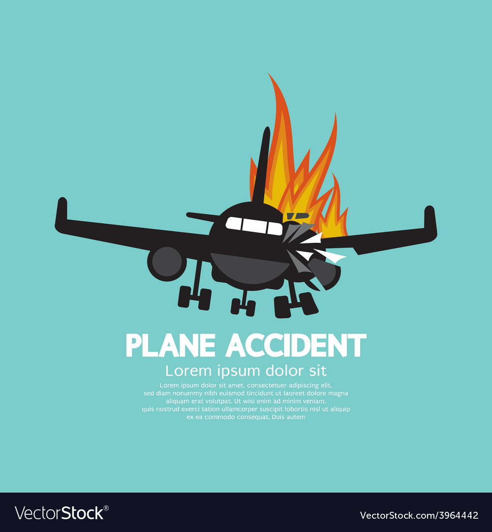 Doomed plane accident on fire vector | Price: 1 Credit (USD $1)