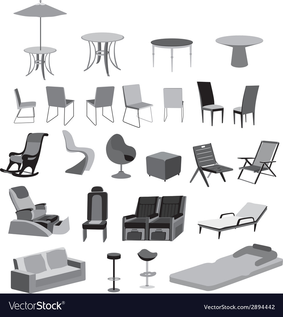 Furniture chairs tables and objects vector | Price: 1 Credit (USD $1)