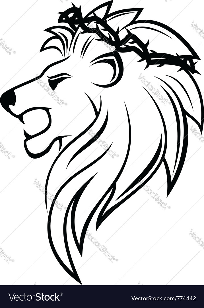 Heraldic lion with thorny wreath vector | Price: 1 Credit (USD $1)