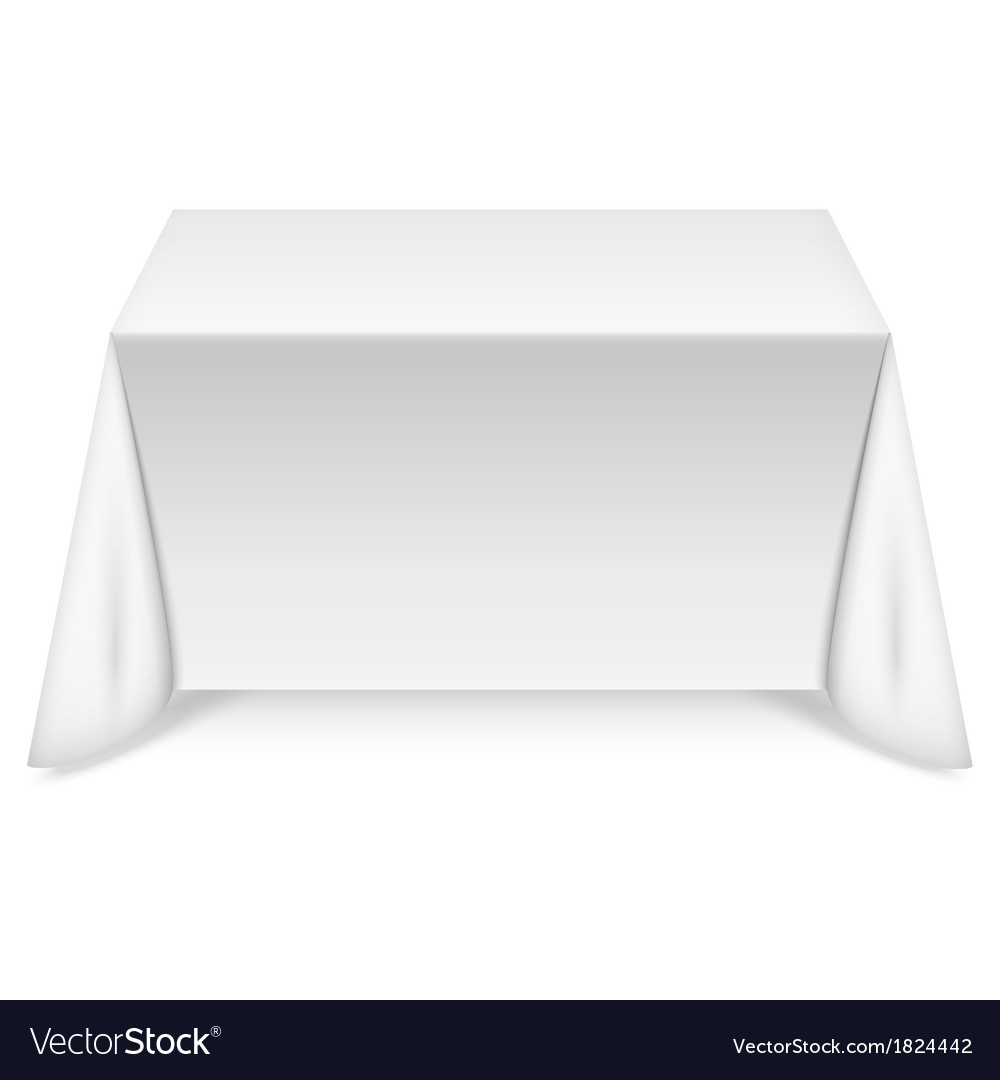 Rectangular table with white tablecloth vector | Price: 1 Credit (USD $1)