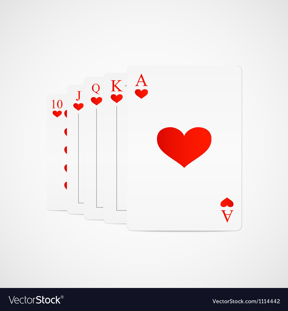 Royal straight flush hearts vector | Price: 1 Credit (USD $1)