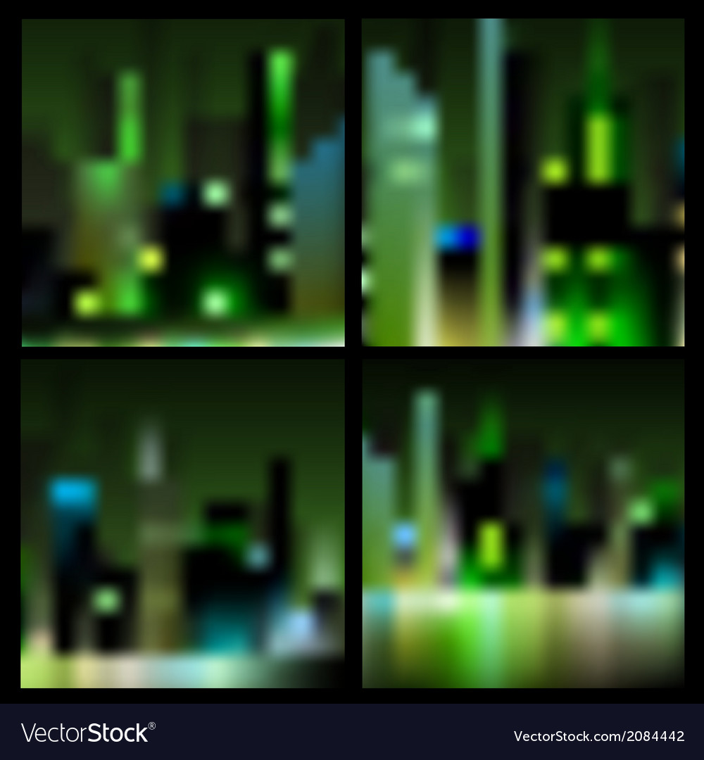 Set of abstract blur night city backgrounds vector | Price: 1 Credit (USD $1)