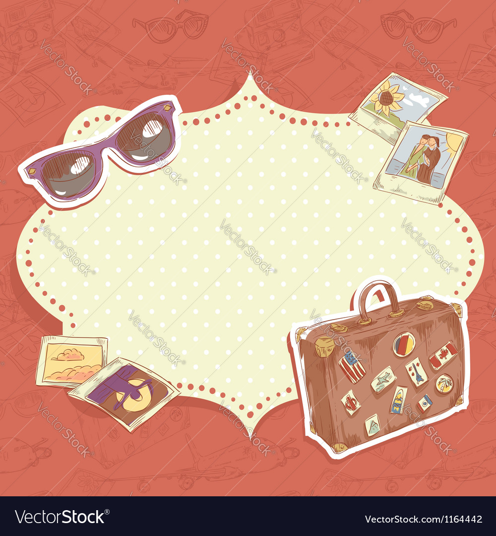 Travel postcard with suitcase vector | Price: 3 Credit (USD $3)