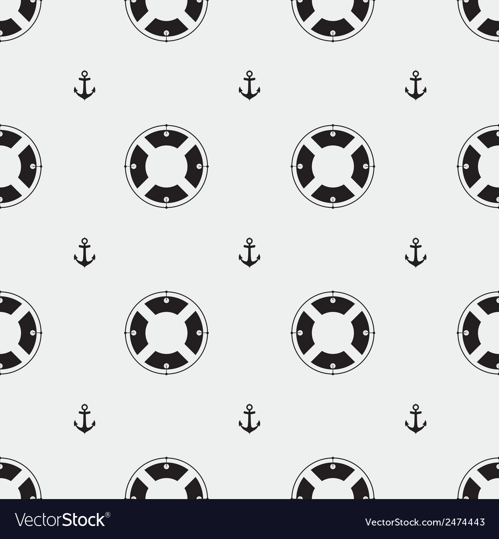 Anchor and lifebuoy pattern vector | Price: 1 Credit (USD $1)
