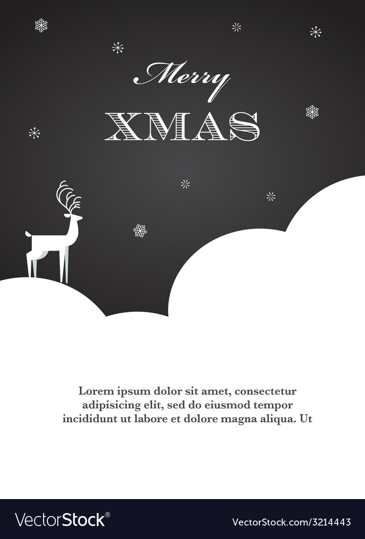 Black and white of christmas deer vector | Price: 1 Credit (USD $1)