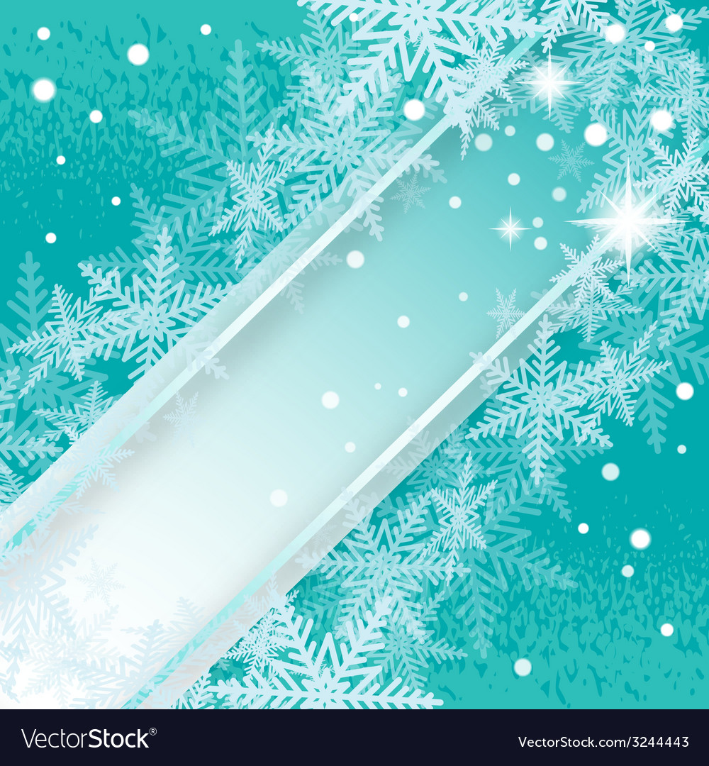Christmas snowflakes turquoise background vector | Price: 1 Credit (USD $1)