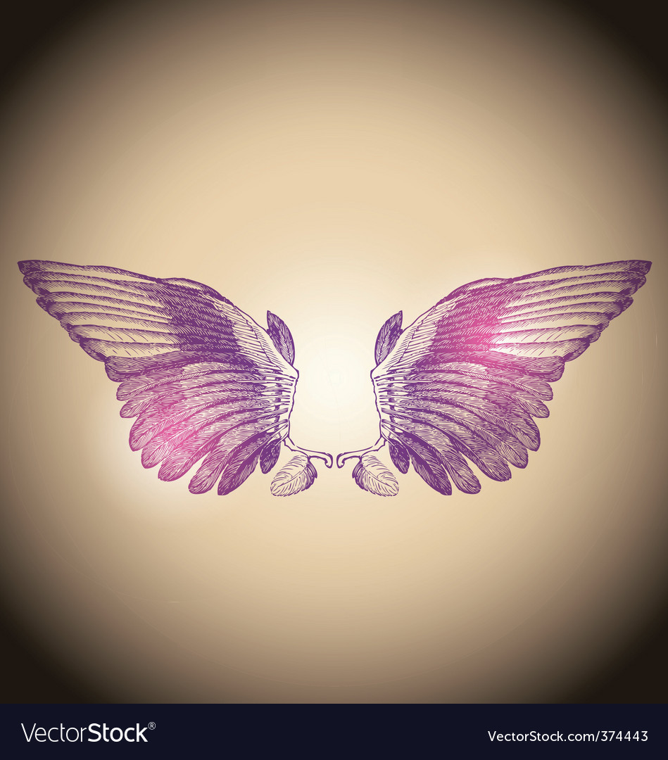 Engraved wings vector | Price: 1 Credit (USD $1)