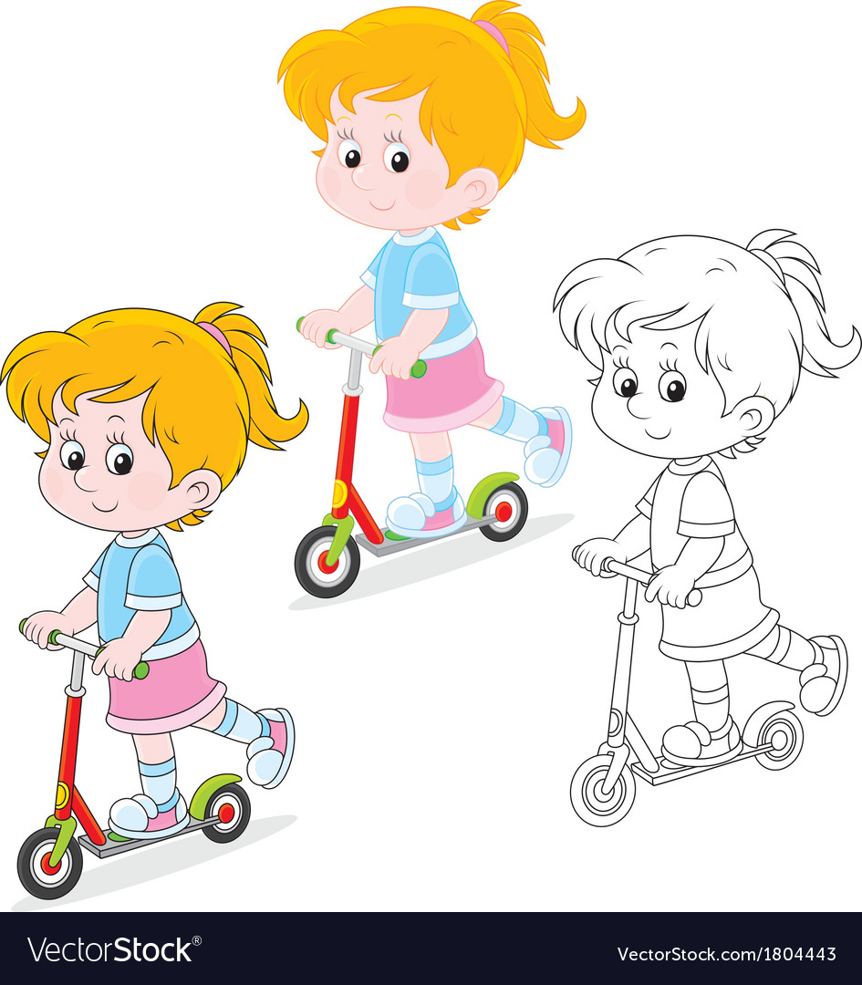 Girl scooterist vector | Price: 1 Credit (USD $1)