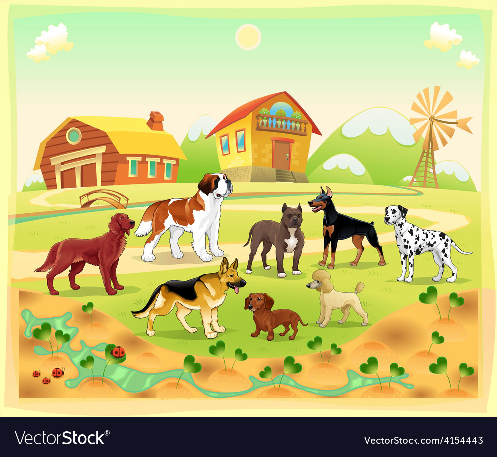 Landscape with group of dogs vector | Price: 3 Credit (USD $3)