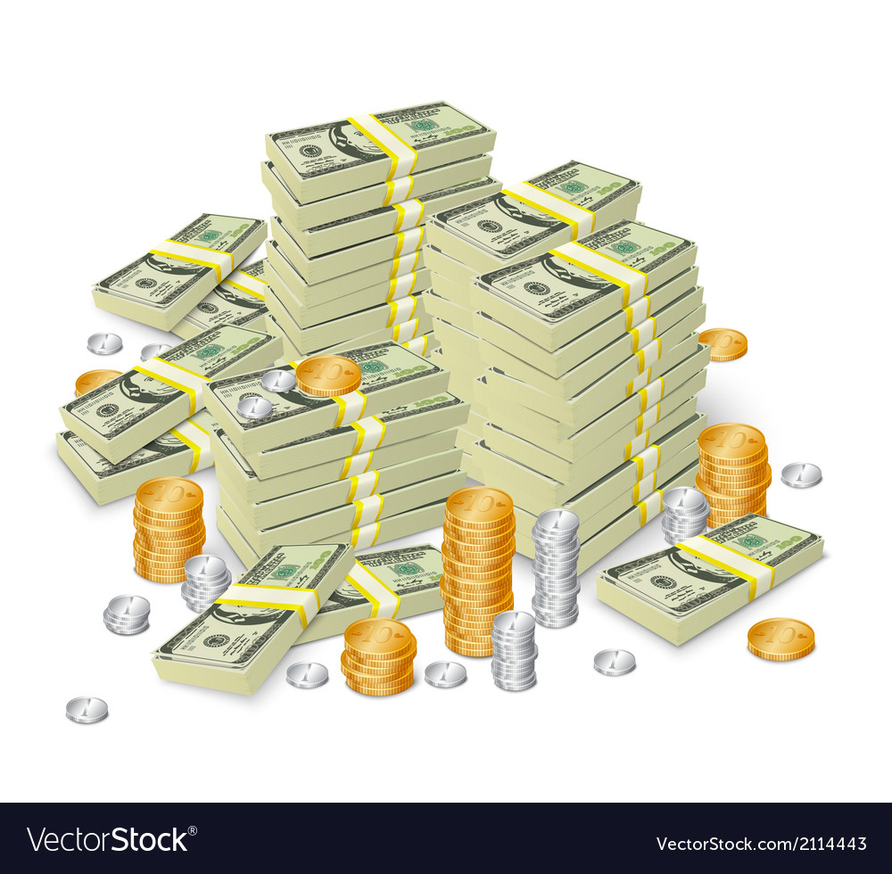 Money stack banknotes and coins concept vector | Price: 1 Credit (USD $1)