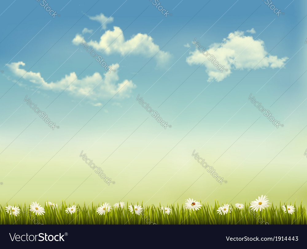 Retro nature background with green grass and sky vector | Price: 1 Credit (USD $1)