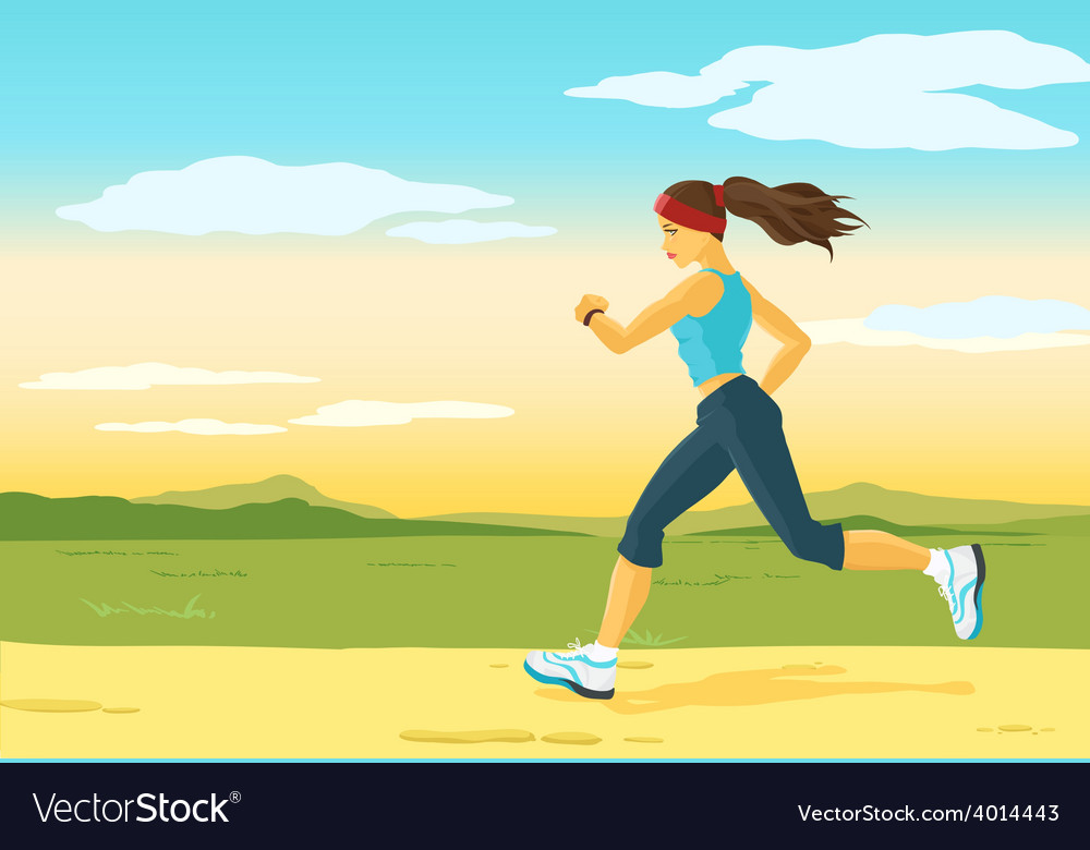 Running woman morning jogging vector | Price: 3 Credit (USD $3)