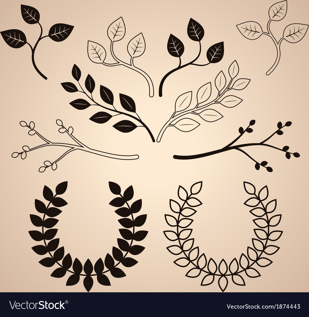 Set of decorative vintage branches and wreathes vector   Price: 1 Credit (USD $1)