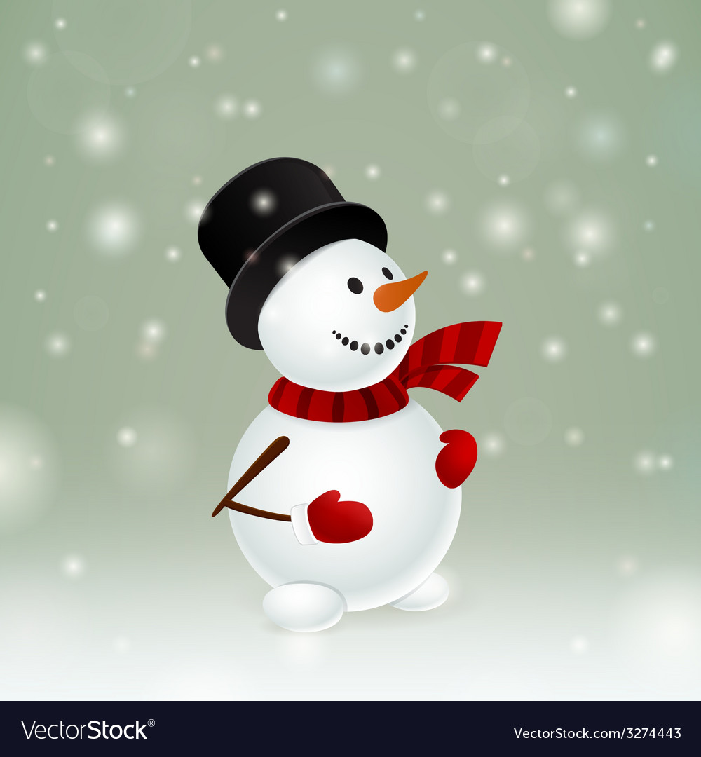 Snowman with red mittens vector | Price: 1 Credit (USD $1)