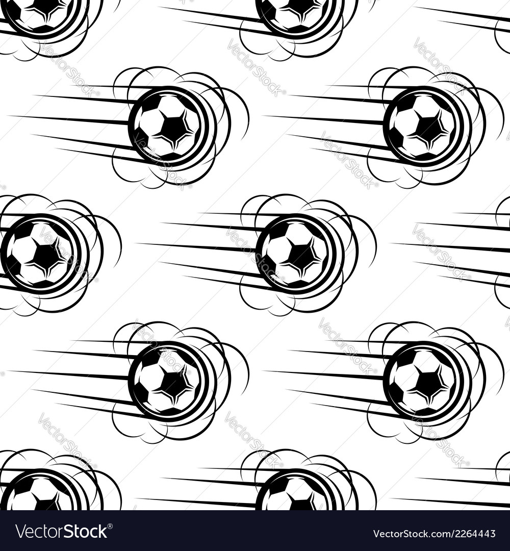 Speeding soccer ball seamless pattern vector | Price: 1 Credit (USD $1)