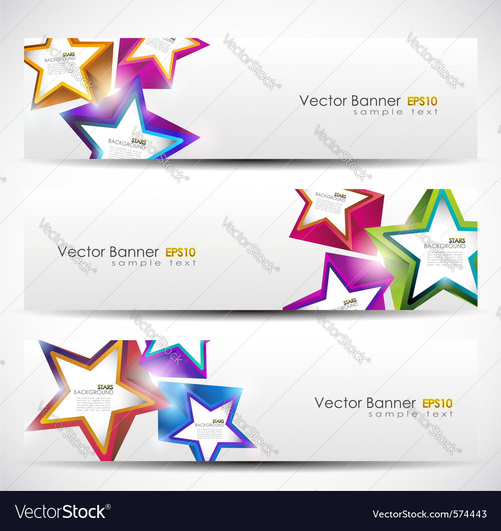 Stars banner set vector | Price: 1 Credit (USD $1)