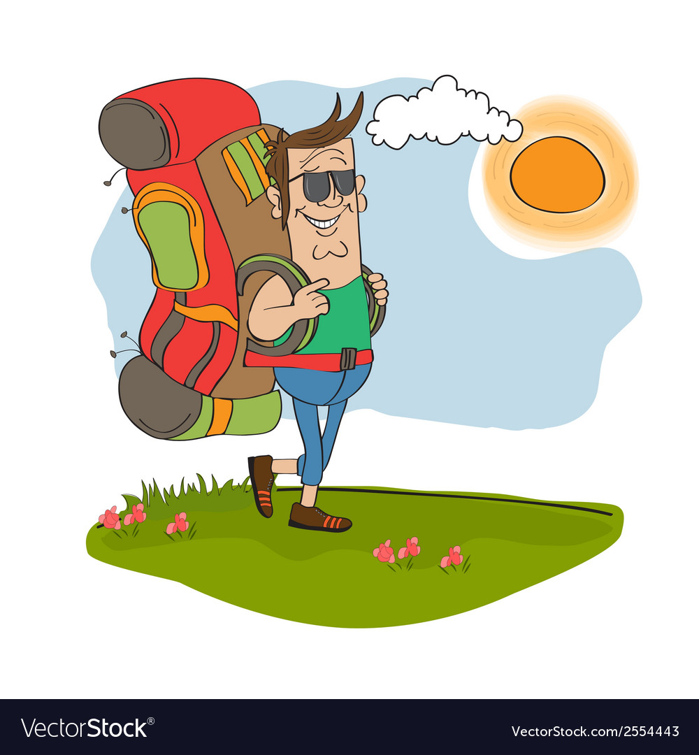 Tourist man traveling with backpack vector | Price: 1 Credit (USD $1)