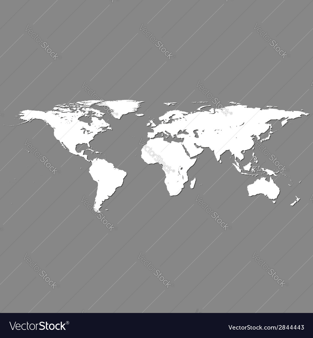 White world map on grey vector | Price: 1 Credit (USD $1)