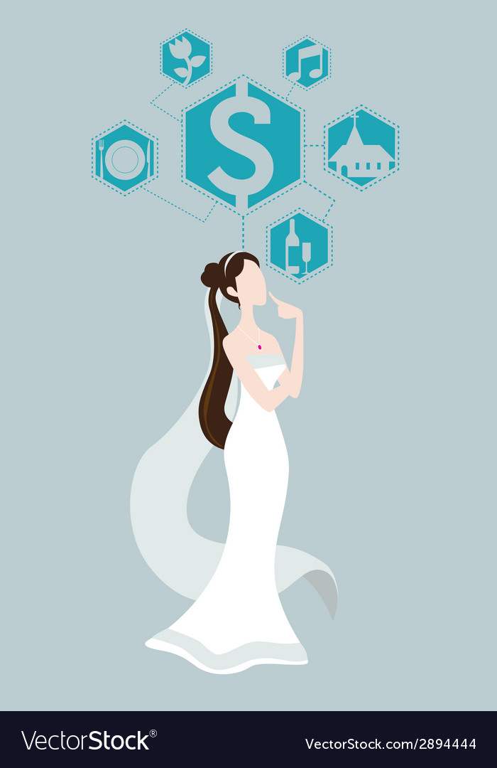 Bride thinking about wedding price vector | Price: 1 Credit (USD $1)