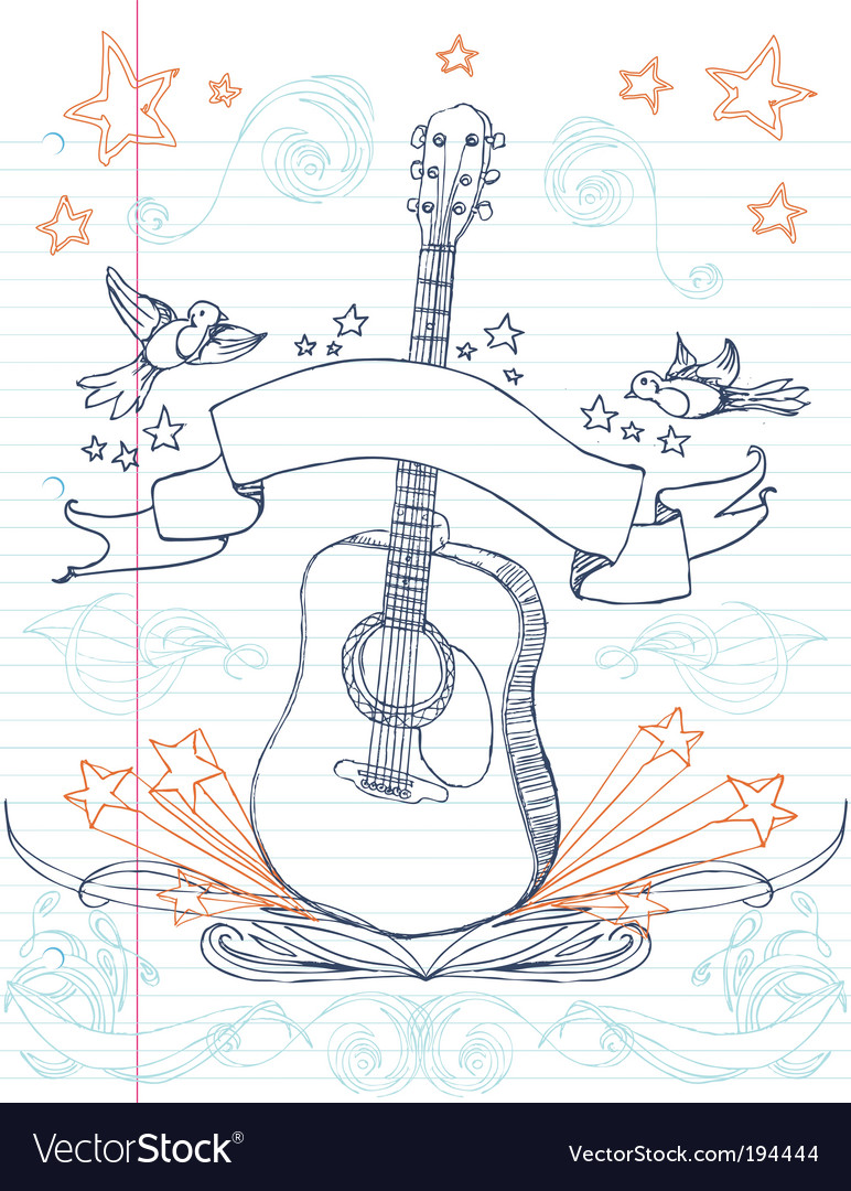 Guitar doodle vector | Price: 1 Credit (USD $1)