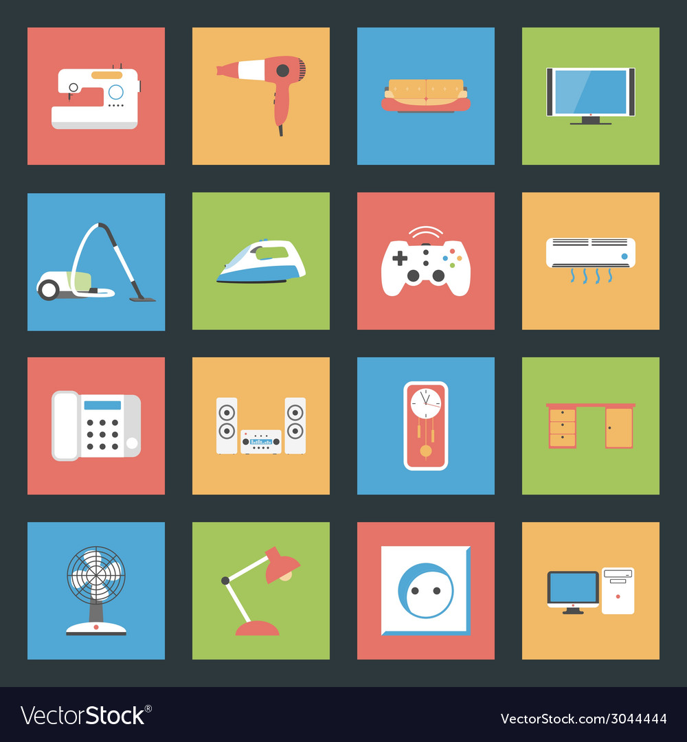 Home furniture and appliances flat icons set vector | Price: 1 Credit (USD $1)