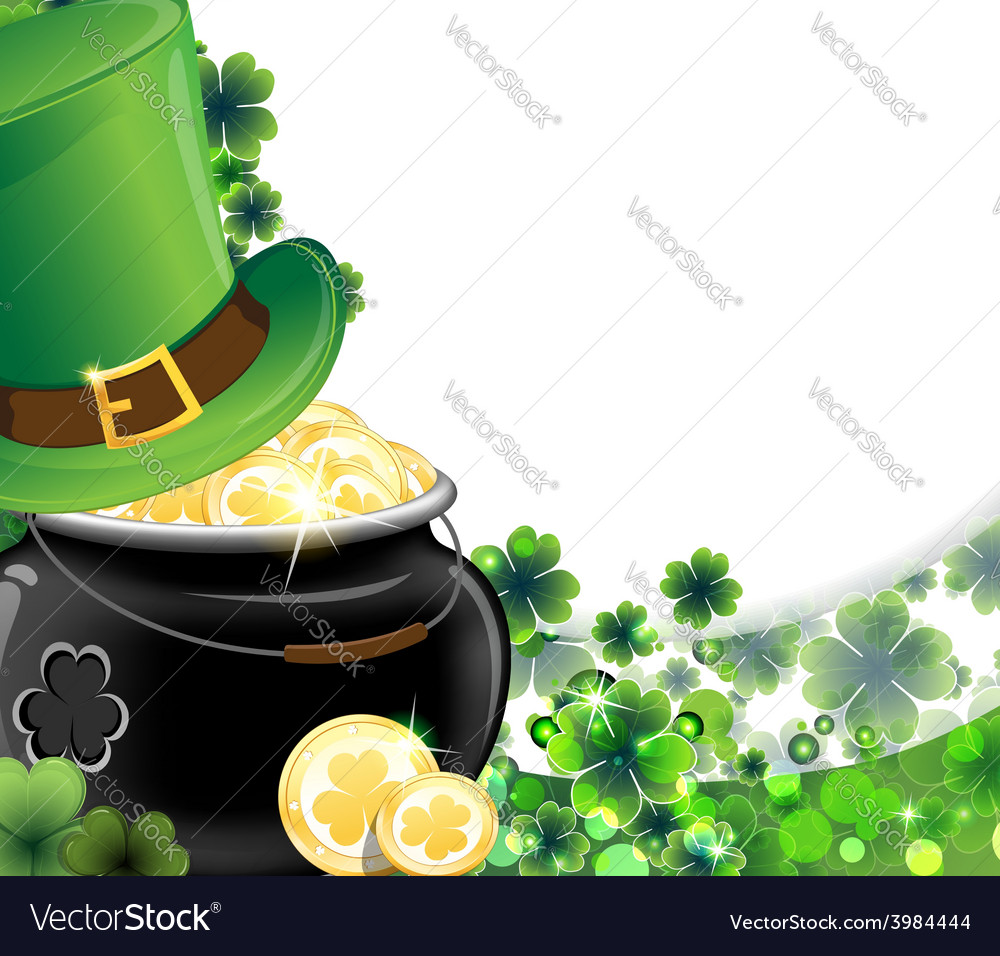 Leprechaun hat and pot with gold coins vector | Price: 1 Credit (USD $1)