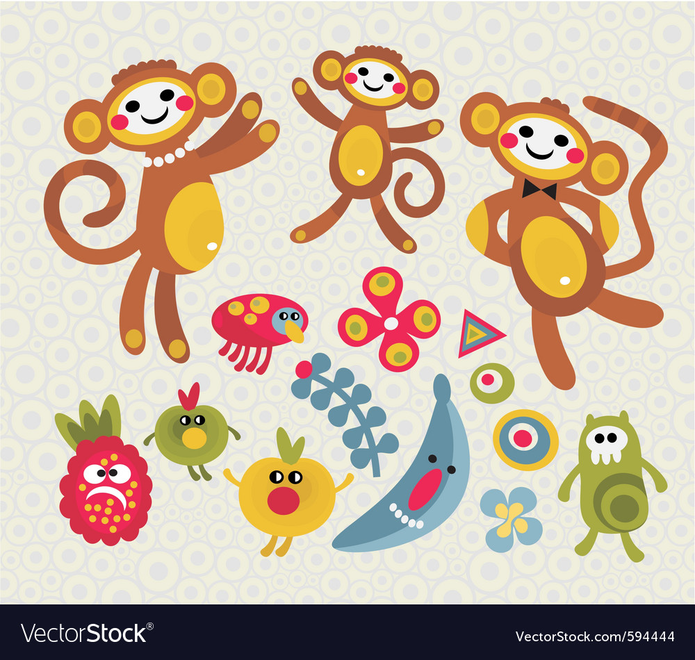 Monkey mania vector | Price: 1 Credit (USD $1)