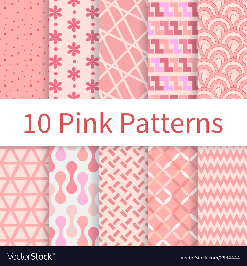 Pink seamless patterns vector | Price: 1 Credit (USD $1)