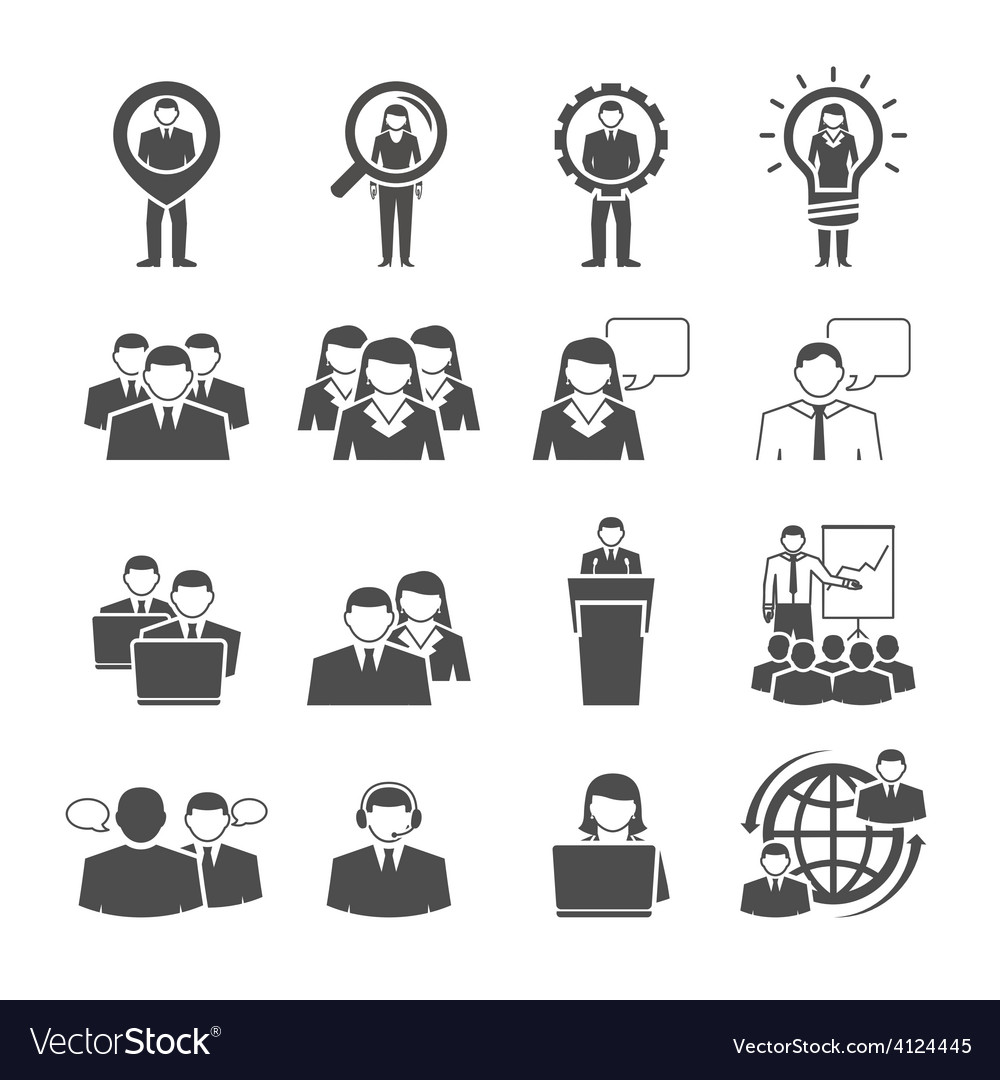 Business team demographic composition black icons vector | Price: 1 Credit (USD $1)
