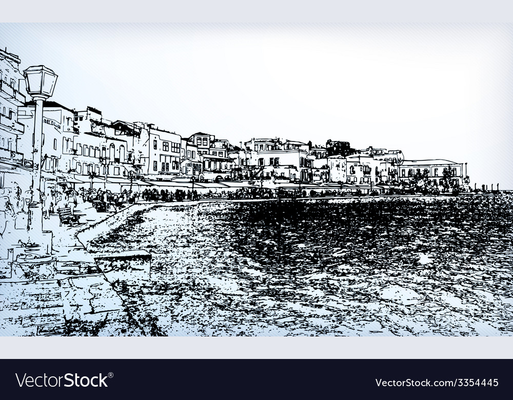 Chania on island of crete greece vector | Price: 1 Credit (USD $1)
