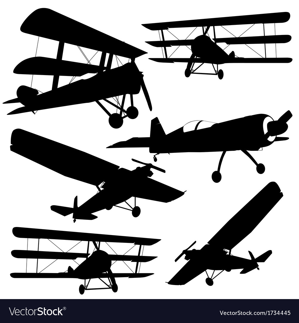 Collection of different combat aircraft silhouette vector | Price: 1 Credit (USD $1)
