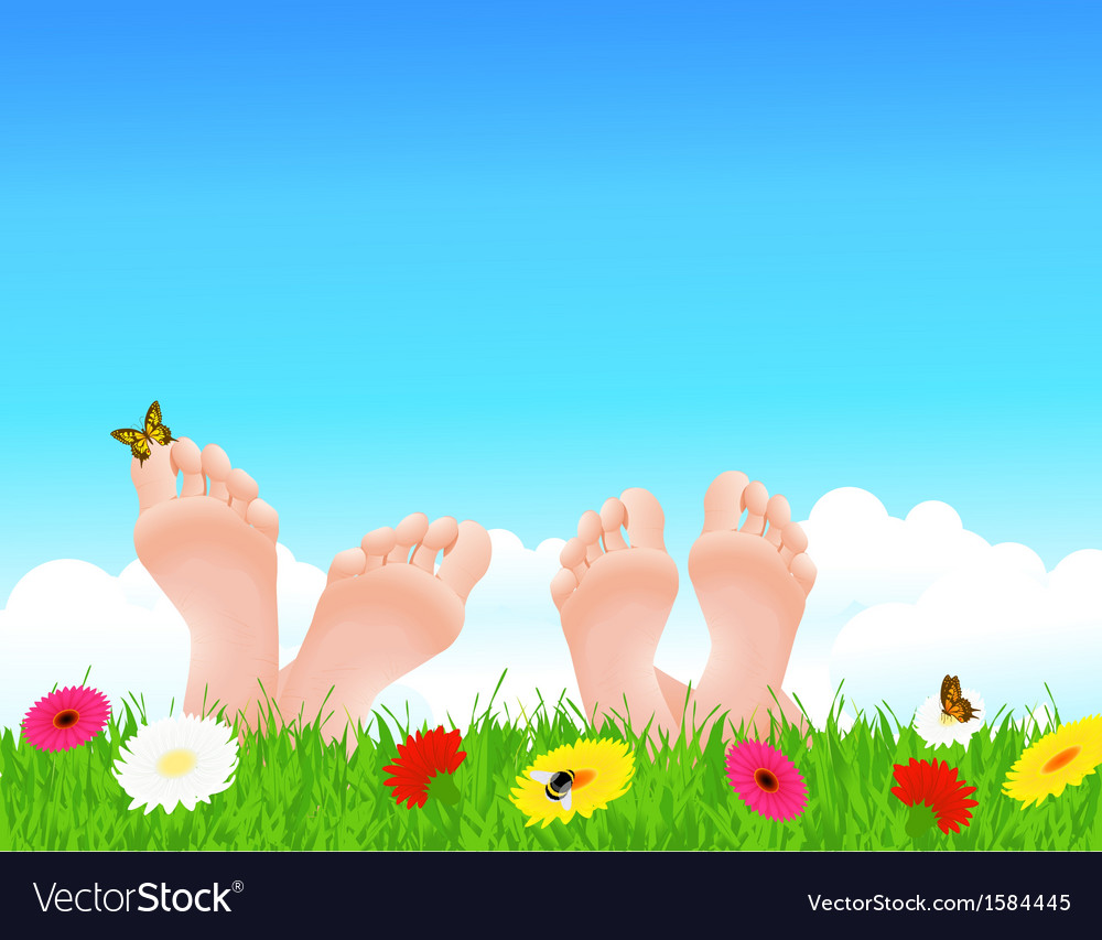 Couple lying on summer field vector | Price: 1 Credit (USD $1)