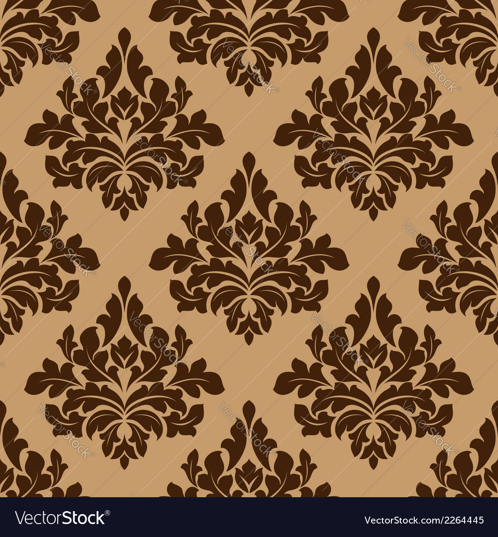 Damask seamless pattern in brown colors vector | Price: 1 Credit (USD $1)