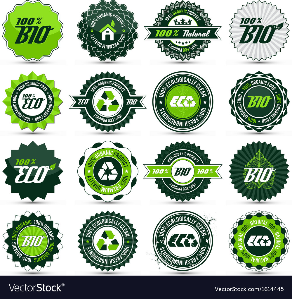 Eco label set vector | Price: 1 Credit (USD $1)