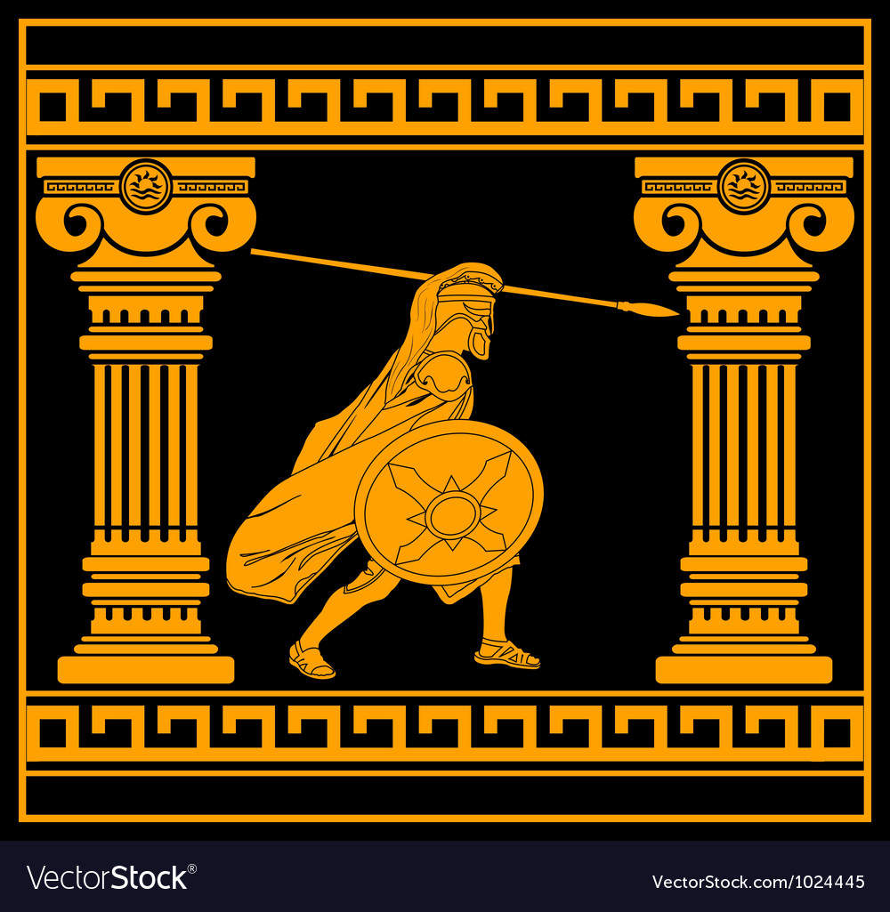 Fantasy warrior with with columns third variant vector | Price: 1 Credit (USD $1)