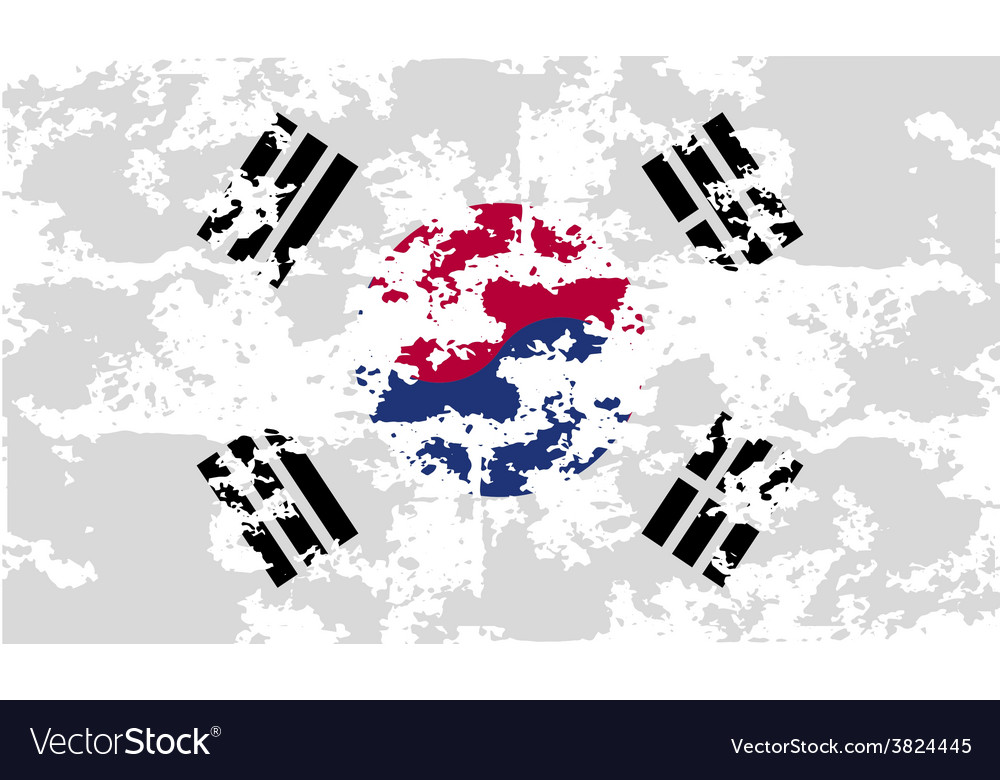 Flag of south korea with old texture vector | Price: 1 Credit (USD $1)