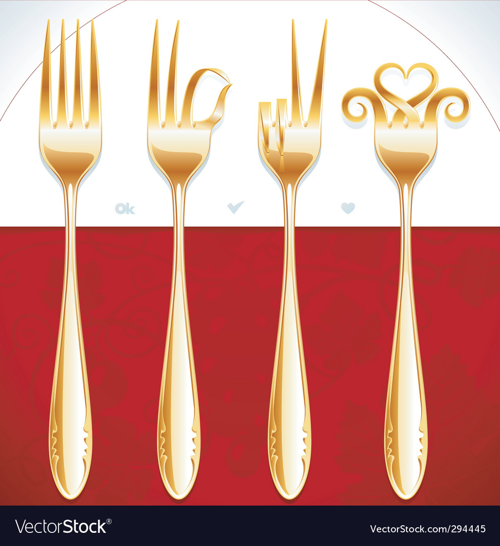 Golden fork gestures vector | Price: 1 Credit (USD $1)
