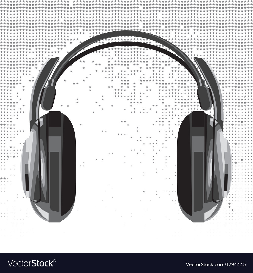Headphones on background consisting of star vector | Price: 1 Credit (USD $1)