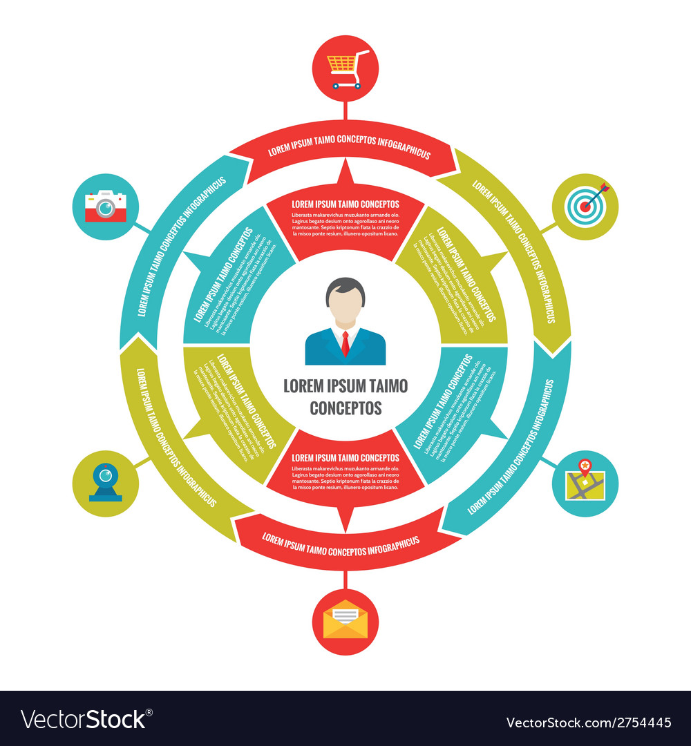 Infographic business circle concept with icons vector | Price: 1 Credit (USD $1)