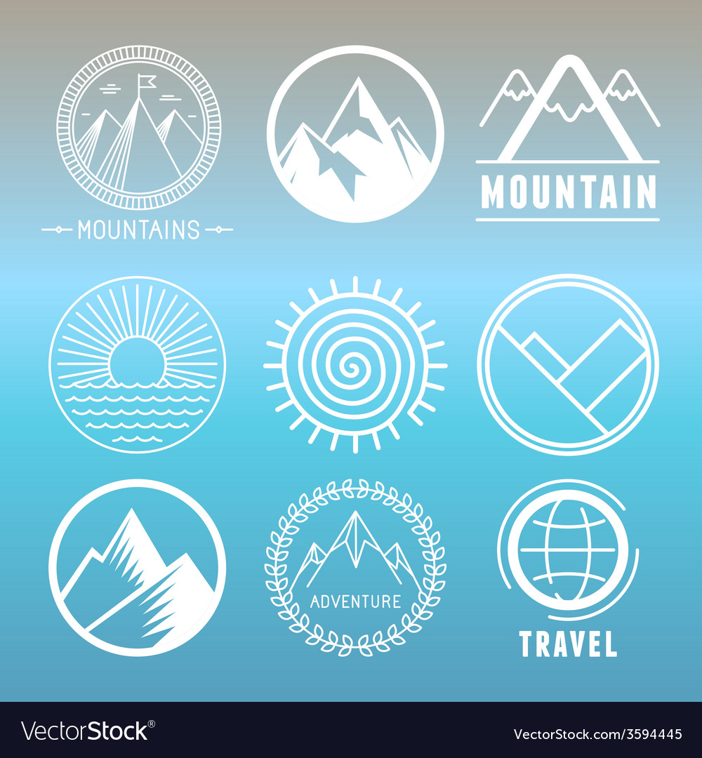 Mountain logos and emblems vector