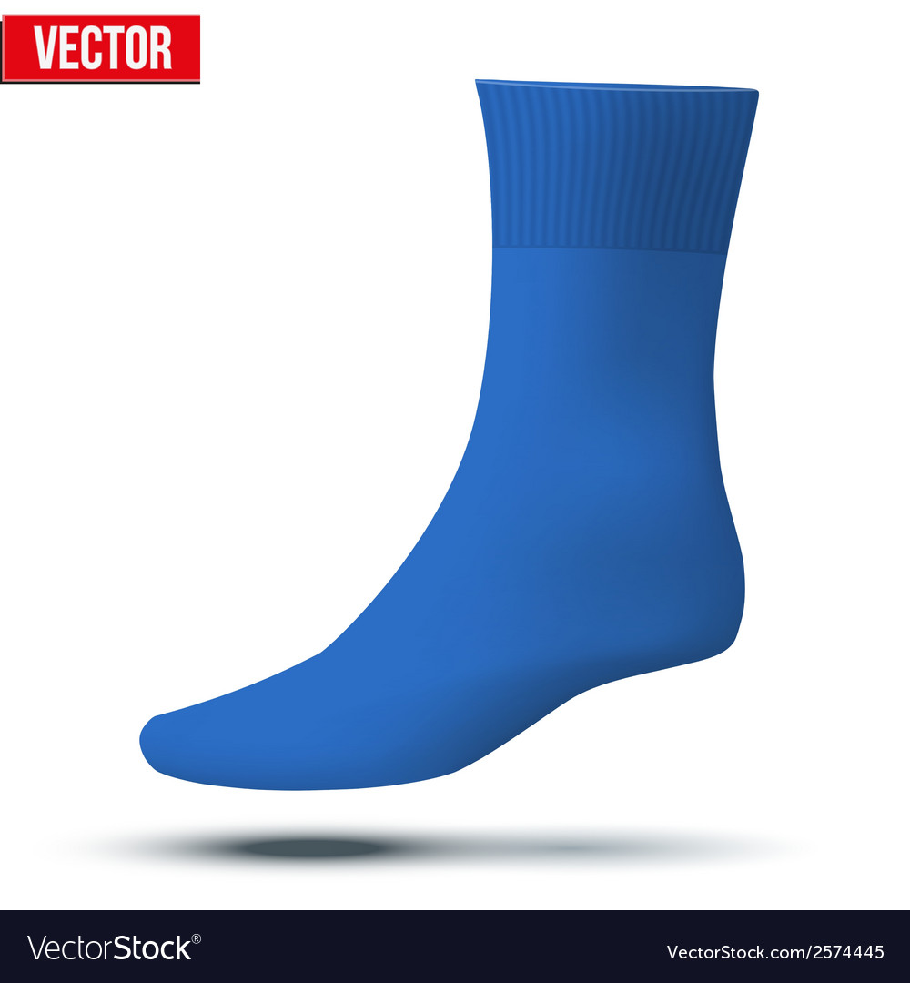 Realistic layout of blue sock a simple example vector | Price: 1 Credit (USD $1)