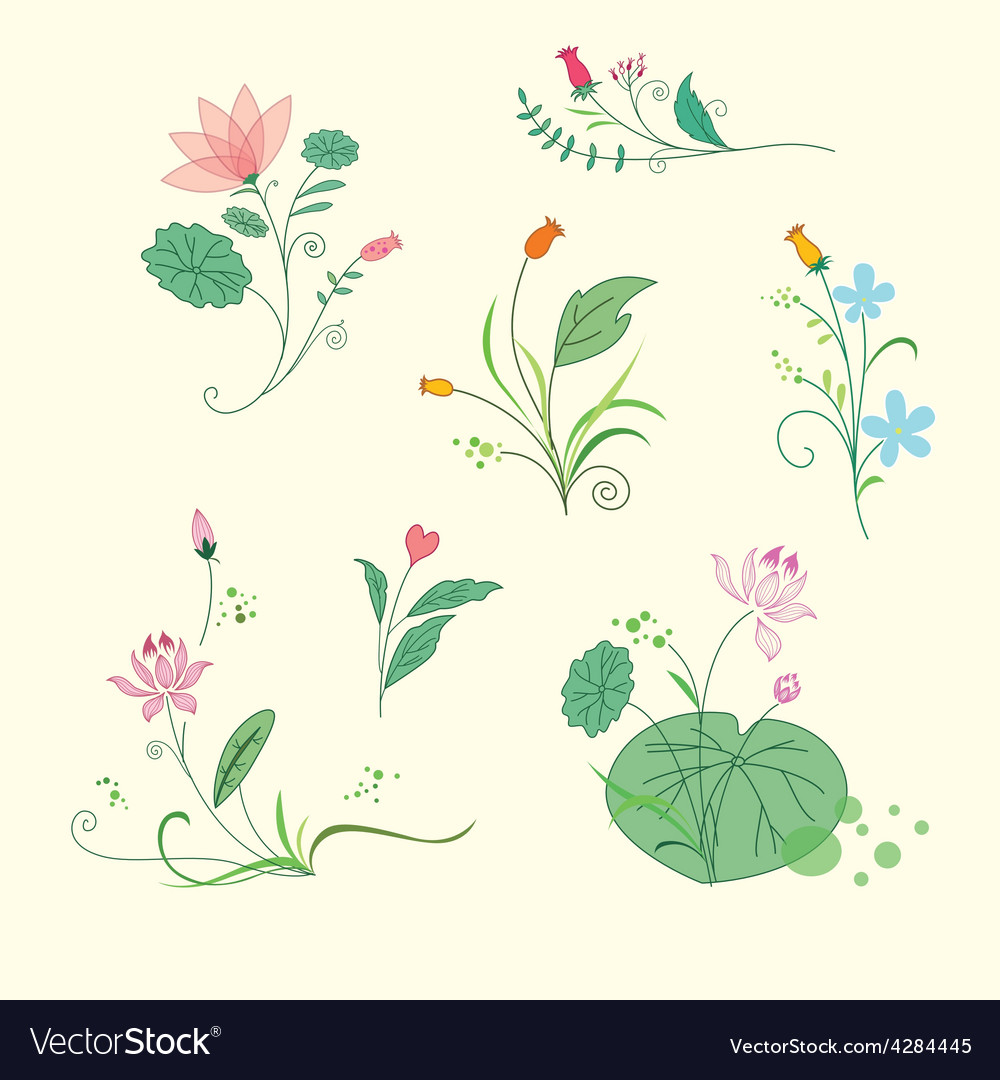 Set of beauty floral bouquets vector | Price: 1 Credit (USD $1)