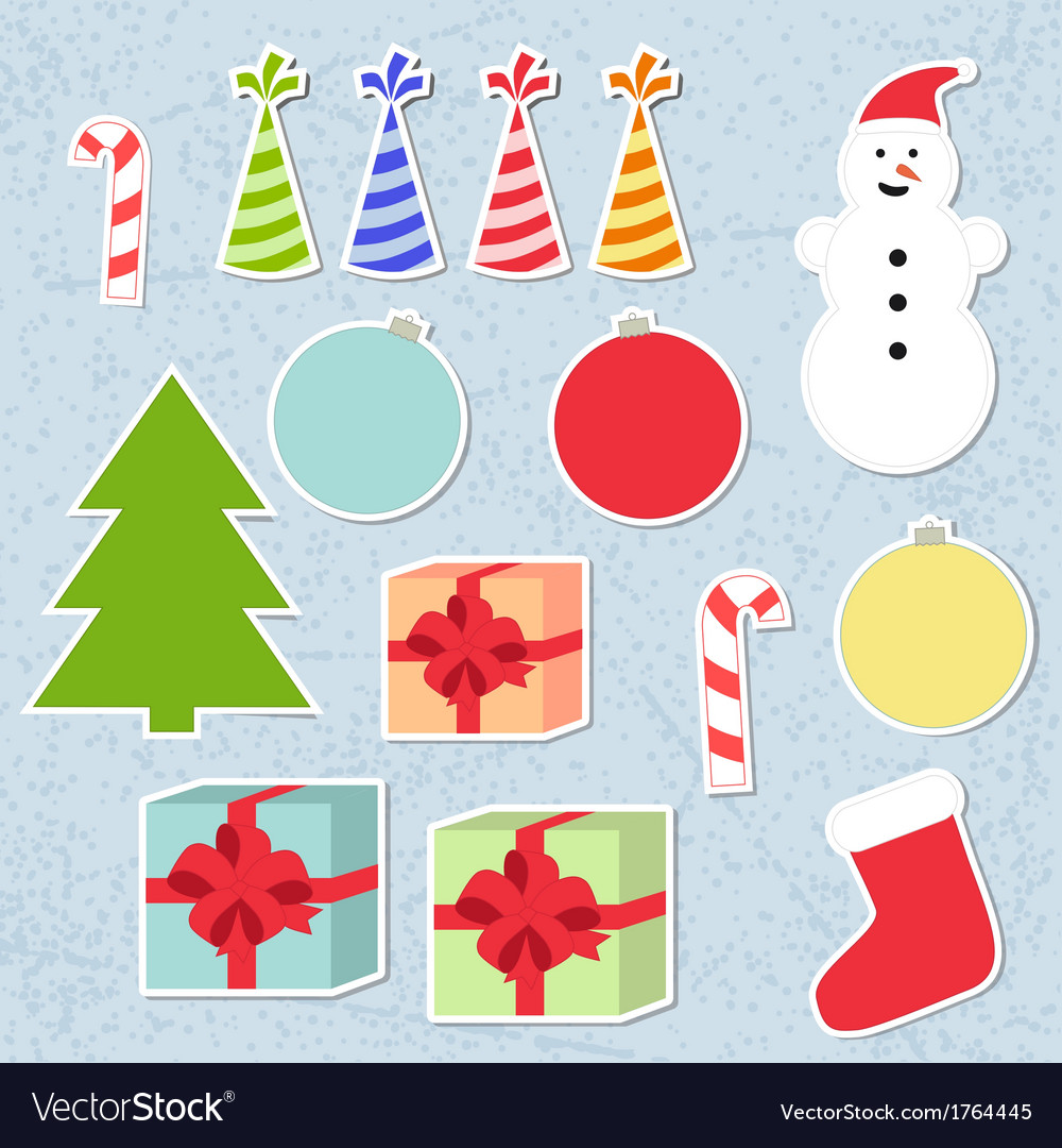 Set of christmas stickers vector