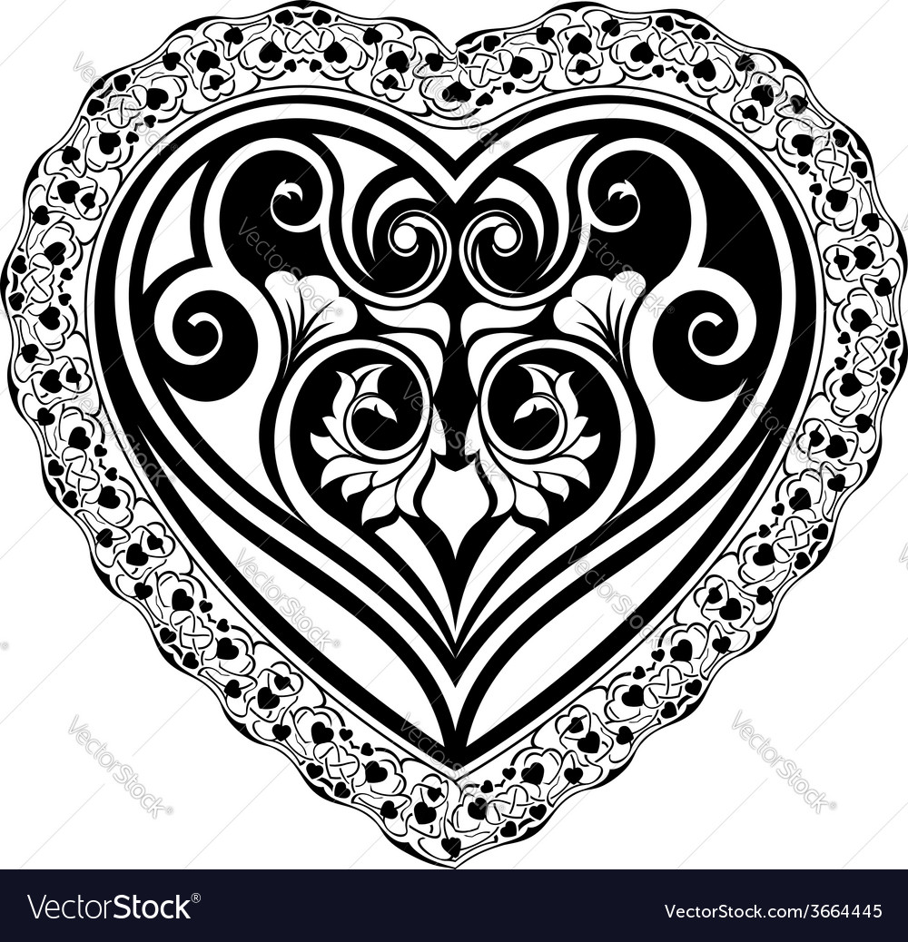 Valentines day tatto heart vector | Price: 1 Credit (USD $1)