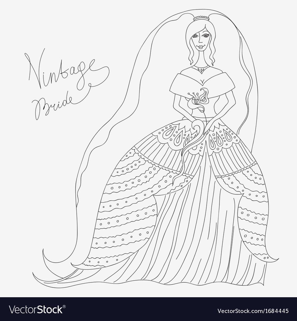 Vintage bride vector | Price: 1 Credit (USD $1)