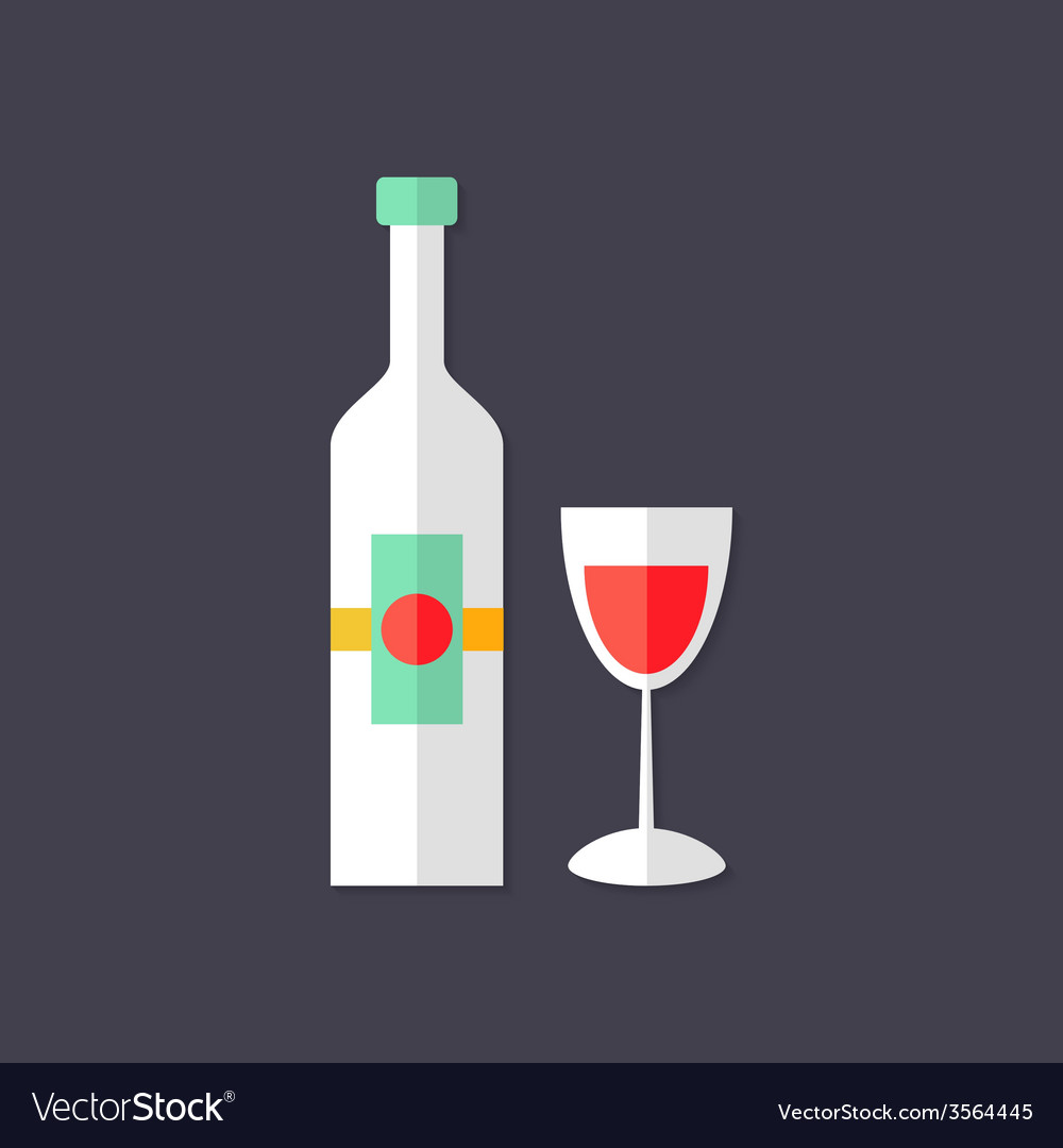 Wine bottle with glass christmas flat icon vector | Price: 1 Credit (USD $1)