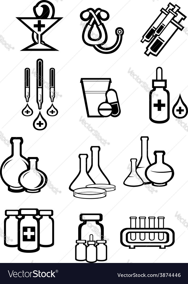 Black outline sketch icons of medicine or drugs vector | Price: 1 Credit (USD $1)
