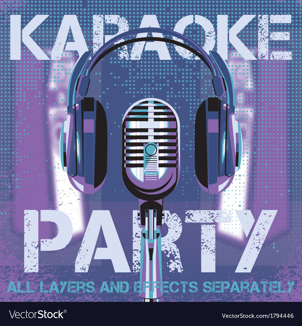 Bmicrophone and headphones for karaoke party vector | Price: 1 Credit (USD $1)