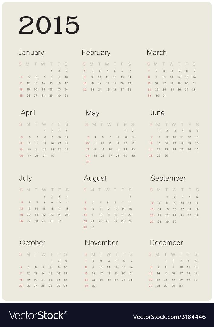 Calendar 2015 simple vector | Price: 1 Credit (USD $1)